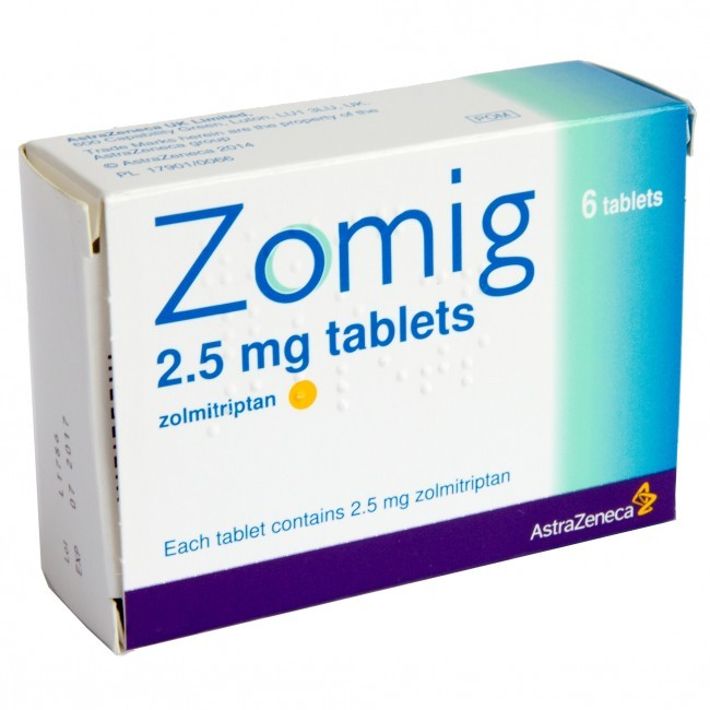 zolmitriptan 2.5mg tablets 6 pack